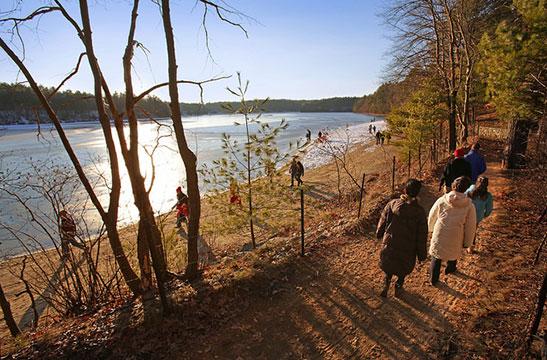 People visiting Walden Pond
