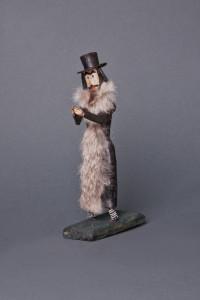 Kraków, Małopolskie province, 19th-20th c. Wood, fur, wire, cardboard; overall height 23 cm; stand:  12 x 6 cm Owned by: Seweryn Udziela Ethnographic Museum, Kraków (inventory no.: 27624/MEK)