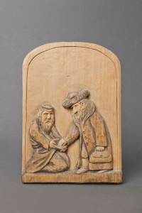 Bas‑relief with Jewish joke on reverse Józef Reguła, 1992 In his early experiments with form and content, Józef Reguła carved a series of reliefs based on entries from a book of Jewish jokes. The jokes are written on the backs of the carvings. Property of Józef Reguła