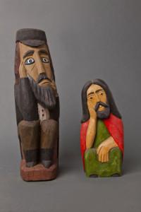 Pensive Jew, Adam Zegadło, 1970 (left) Property of Leszek Macak Sorrowful Christ, Marian Adamski, date unknown, (right)  Property of Marian Pokropek, Folk Art Museum in Otrębusy