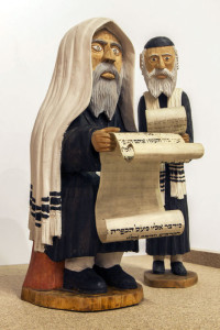 Figurines holding fragments  of authentic Torah parchment. Bogusław Suwała, 1980s Property of Danuta Suwała Photo by Sebastian Molski