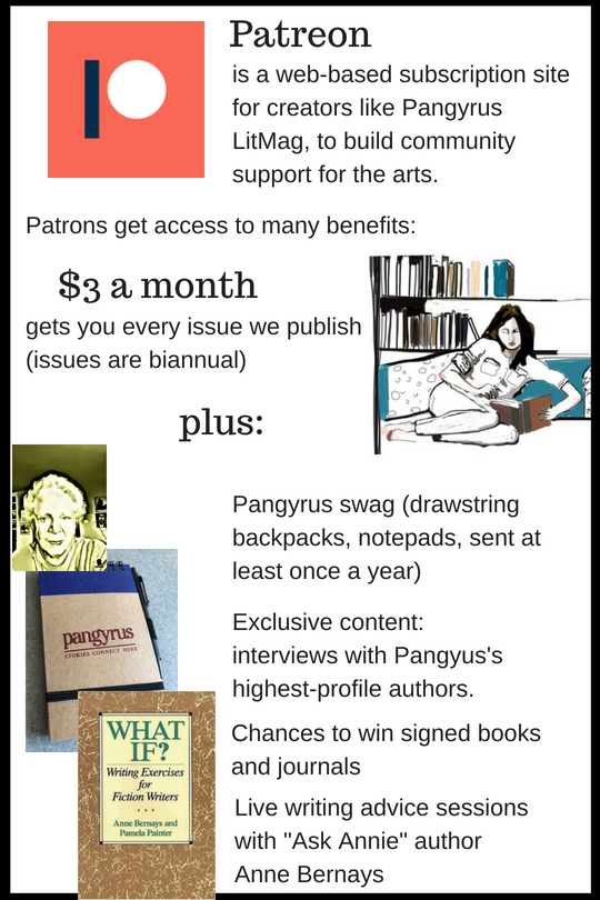 $3 a month gets you every issue we publish, plus Pangyrus gifts like drawstring backpacks once a year